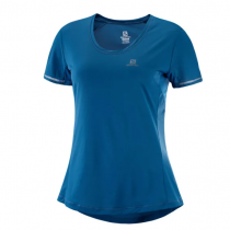 SALOMON - AGILE SS TEE W COPEN BLUE/DARKDE/HEATHER - WOMEN